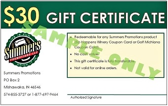 $30 Gift Certificate Sample Golf Michiana
