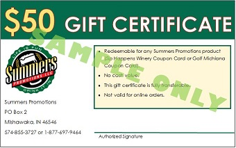 $50 Gift Certificate Golf Michiana Sample