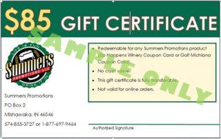 $85 Gift Certificate Golf Michiana