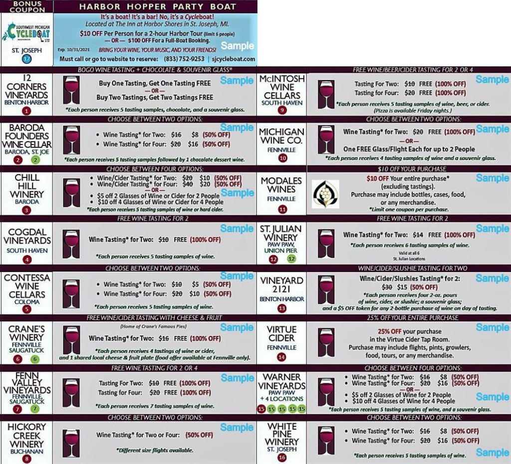 2021 Sip Happens Winery Sample Coupons