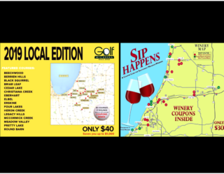 Golf Michiana Local and Sip Happens Winery Coupon Cards
