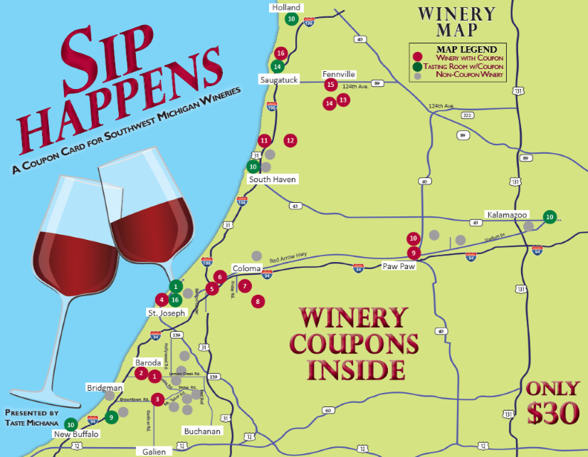 Sip Happens Winery Coupon Card 2019 Cover