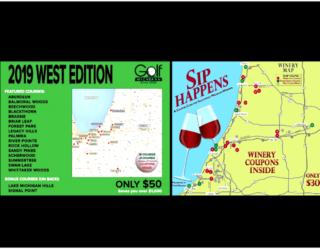 Golf Michiana West and Sip Happens Winery Coupon Cards