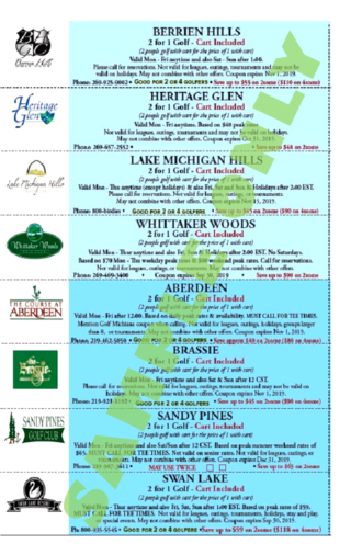 REGIONAL Golf Michiana Left Column Coupons