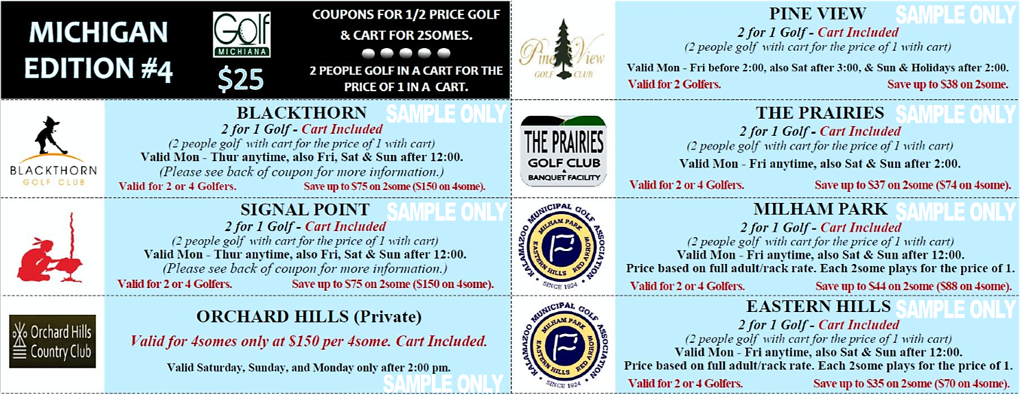 Michigan Mini Edition #4 Sample Coupons Golf Michiana