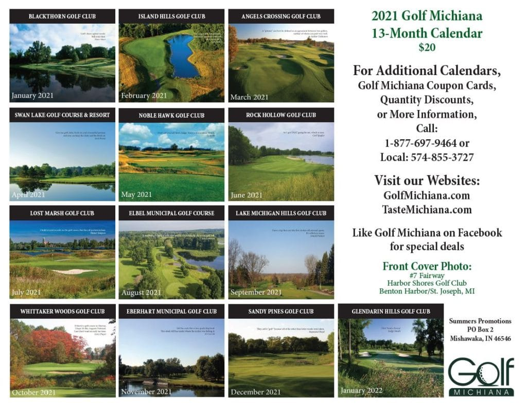 2021 Golf Michiana Calendar Back Cover