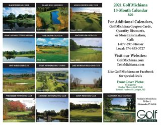 2021 Golf Courses of Michiana Calendar - NW Indiana Area - Back Cover
