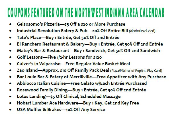 List of NW Ind Coupons on Golf Courses of Michiana Calendar