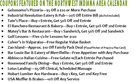 List of Coupons on NW Ind Golf Courses of Michiana Calendar