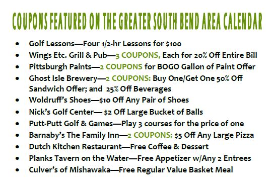 List of SB Coupons on Golf Courses of Michiana Calendar