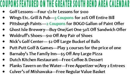 List of Coupons on SB Area Golf Courses of Michiana Calendar