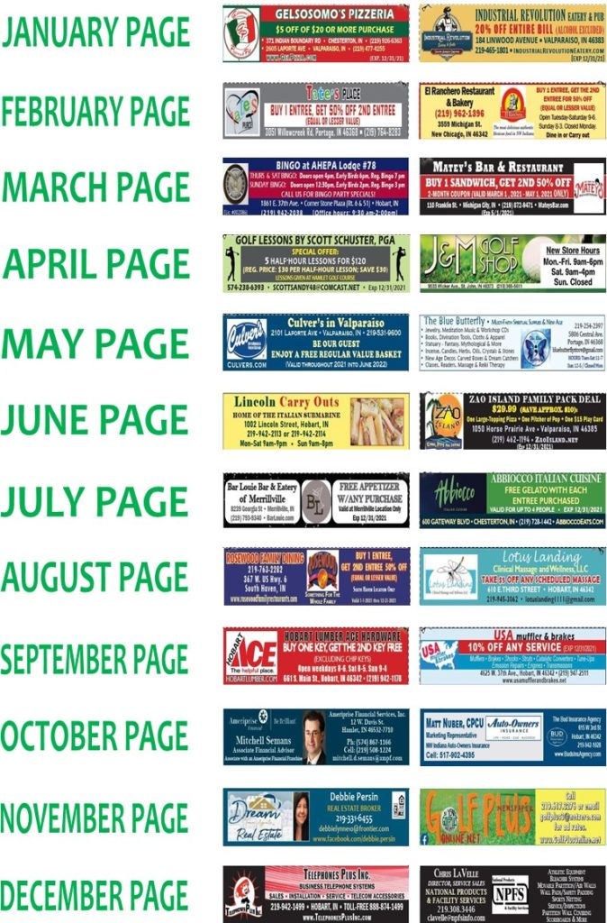 NW IND COUPONS ON GOLF COURSES OF MICHIANA CALENDAR